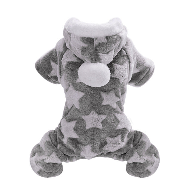 Soft Cat Winter Jumpsuit Coat with Star Print and PomPom on Hood Gray / 2XL | CatToyz.com | Shop Cat Toys, Clothes, and Grooming Supplies