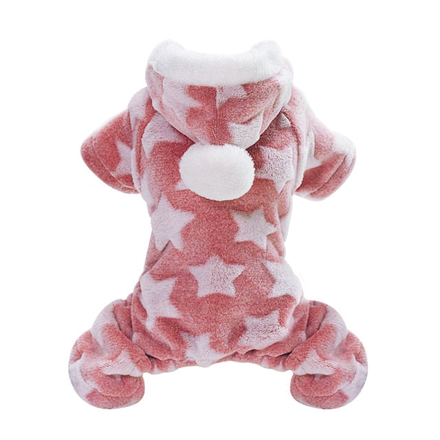 Soft Cat Winter Jumpsuit Coat with Star Print and PomPom on Hood Pink / 2XL | CatToyz.com | Shop Cat Toys, Clothes, and Grooming Supplies