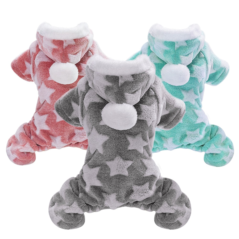 Soft Cat Winter Jumpsuit Coat with Star Print and PomPom on Hood  | CatToyz.com | Shop Cat Toys, Clothes, and Grooming Supplies