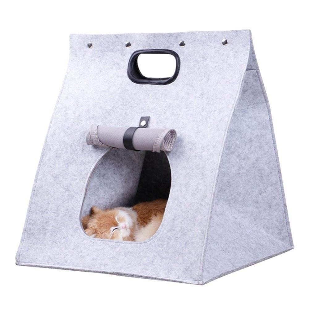 Foldable, Portable, Felt Cat Bed with Optional Matching Mat  | CatToyz.com | Shop Cat Toys, Clothes, and Grooming Supplies