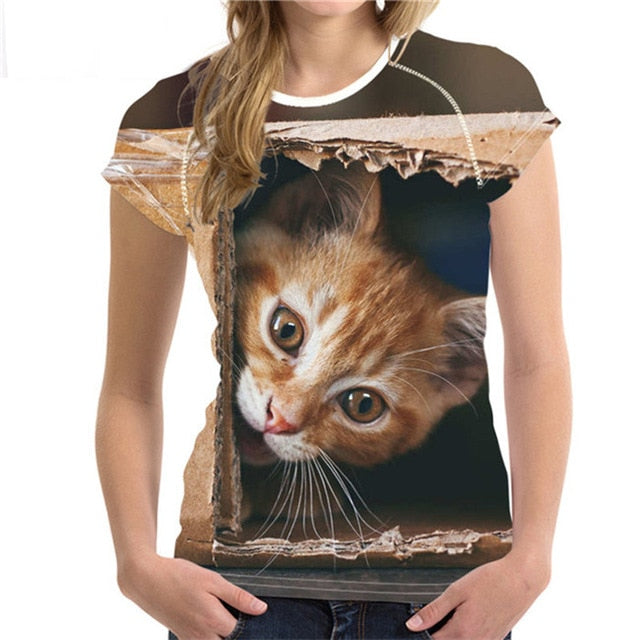 3D Cat T-Shirt for Women Several Styles to Choose From Box Cat / S | CatToyz.com | Shop Cat Toys, Clothes, and Grooming Supplies