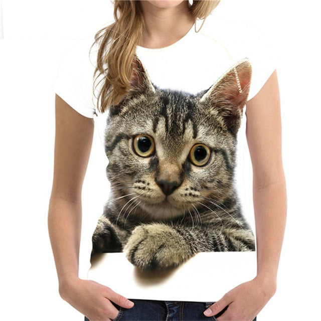 3D Cat T-Shirt for Women Several Styles to Choose From Handsome Cat / S | CatToyz.com | Shop Cat Toys, Clothes, and Grooming Supplies