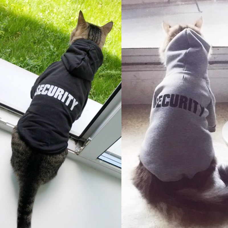 "Cat ""Security"" Hoodie! Let Those Rats Know Who The Boss Is!  