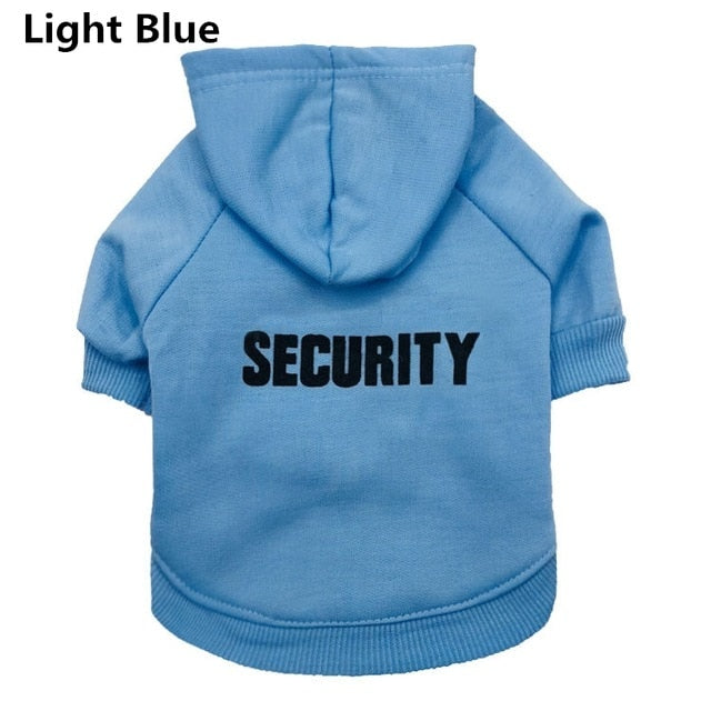 "Cat ""Security"" Hoodie! Let Those Rats Know Who The Boss Is! Light Blue / M 
