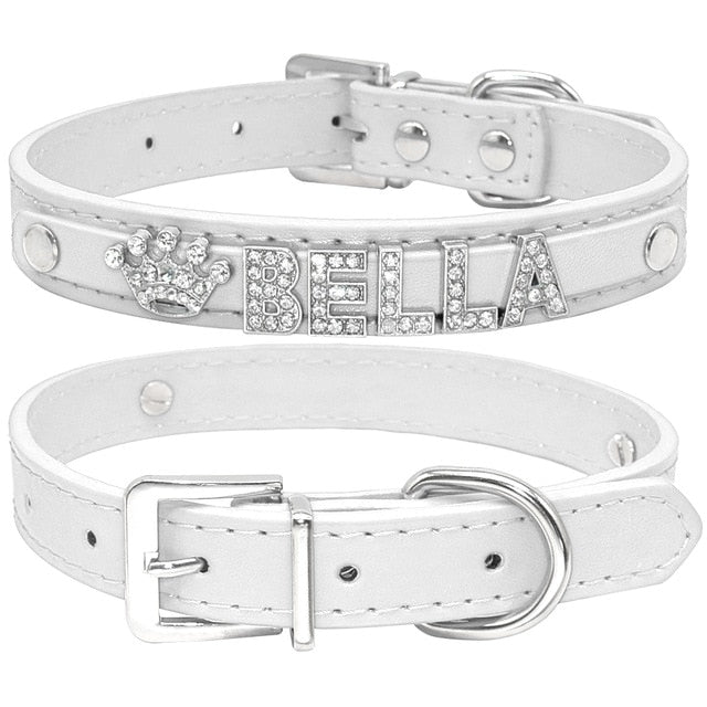 Personalized Rhinestone Cat Collar Plain white / S | CatToyz.com | Shop Cat Toys, Clothes, and Grooming Supplies