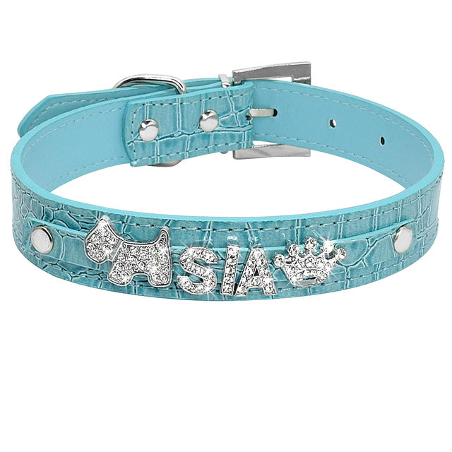 Personalized Rhinestone Cat Collar Croc  Blue / S | CatToyz.com | Shop Cat Toys, Clothes, and Grooming Supplies
