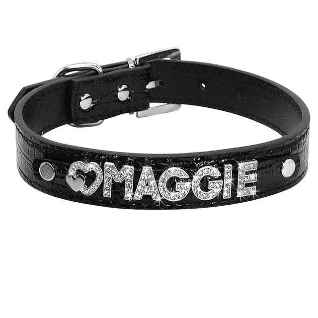 Personalized Rhinestone Cat Collar Croc Black / S | CatToyz.com | Shop Cat Toys, Clothes, and Grooming Supplies