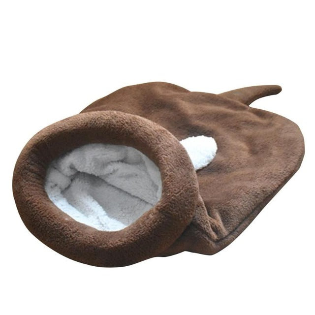 Fleece Sleeping Bag Cat Bed Brown / 65 X 55cm | CatToyz.com | Shop Cat Toys, Clothes, and Grooming Supplies