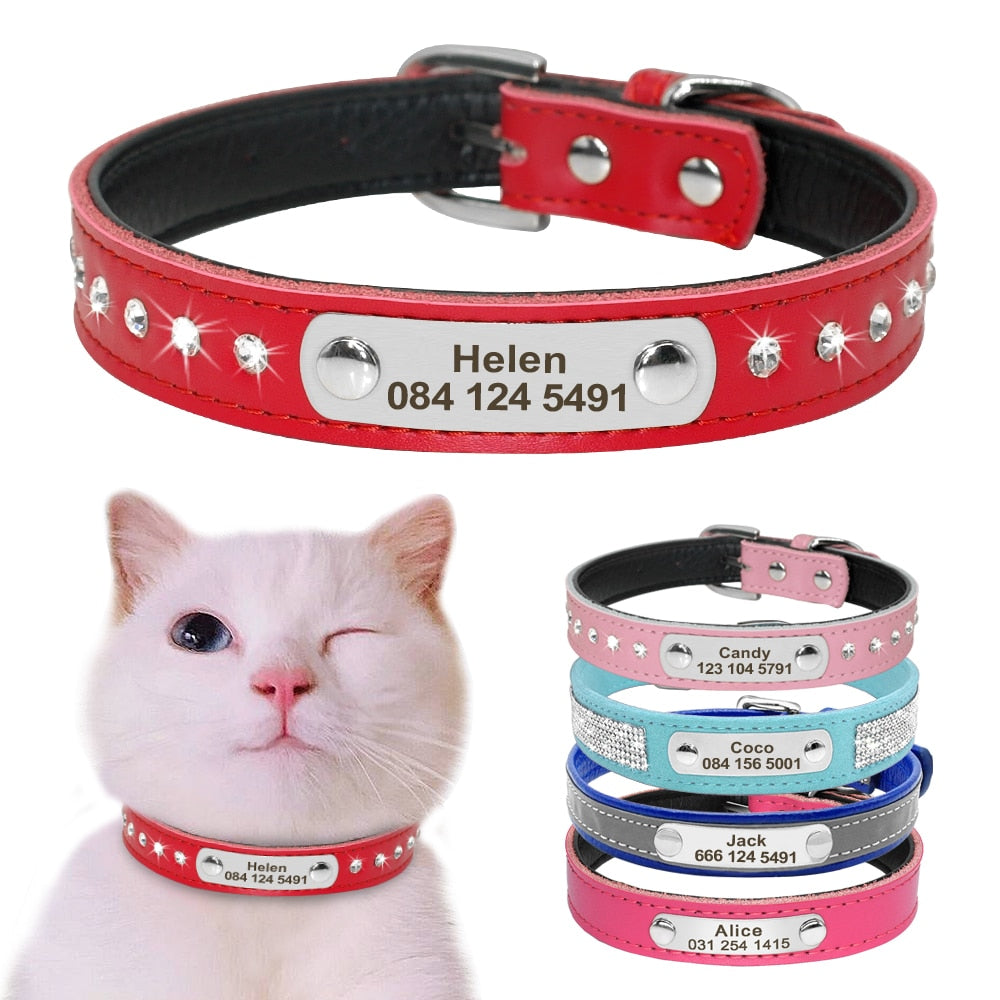 Personalized Leather Cat Collar  | CatToyz.com | Shop Cat Toys, Clothes, and Grooming Supplies