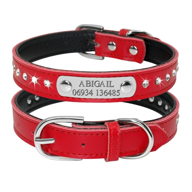 Personalized Leather Cat Collar Red 1 / Neck fit 32 to 39 cm | CatToyz.com | Shop Cat Toys, Clothes, and Grooming Supplies