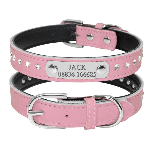 Personalized Leather Cat Collar Pink 1 / Neck fit 32 to 39 cm | CatToyz.com | Shop Cat Toys, Clothes, and Grooming Supplies