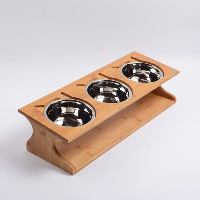Solid Wood Cat Dining Table with 3 Stainless Steel Bowls  | CatToyz.com | Shop Cat Toys, Clothes, and Grooming Supplies