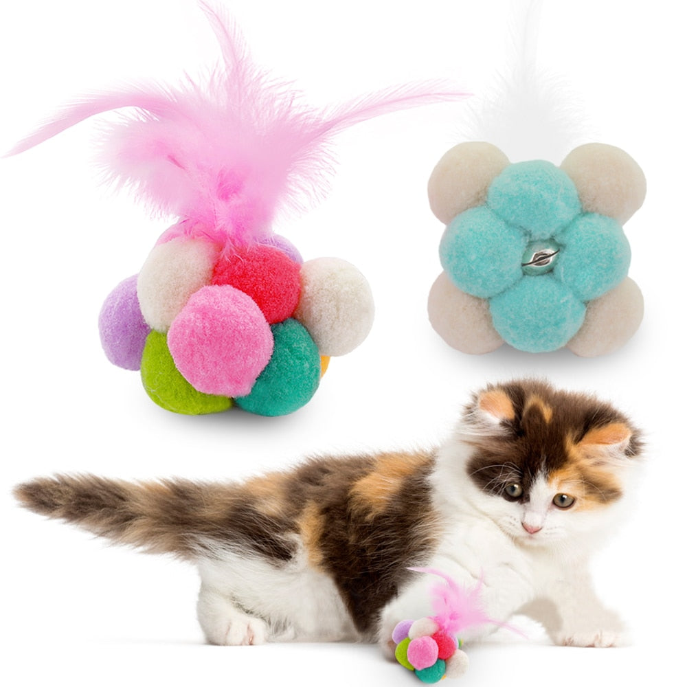 Catnip Infused Ball of Pompoms with Bell & Feathers  | CatToyz.com | Shop Cat Toys, Clothes, and Grooming Supplies