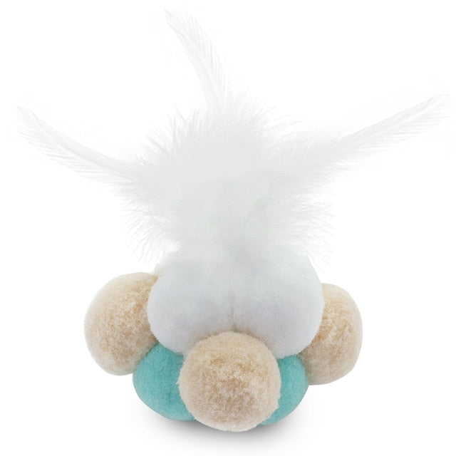 Catnip Infused Ball of Pompoms with Bell & Feathers White / S | CatToyz.com | Shop Cat Toys, Clothes, and Grooming Supplies