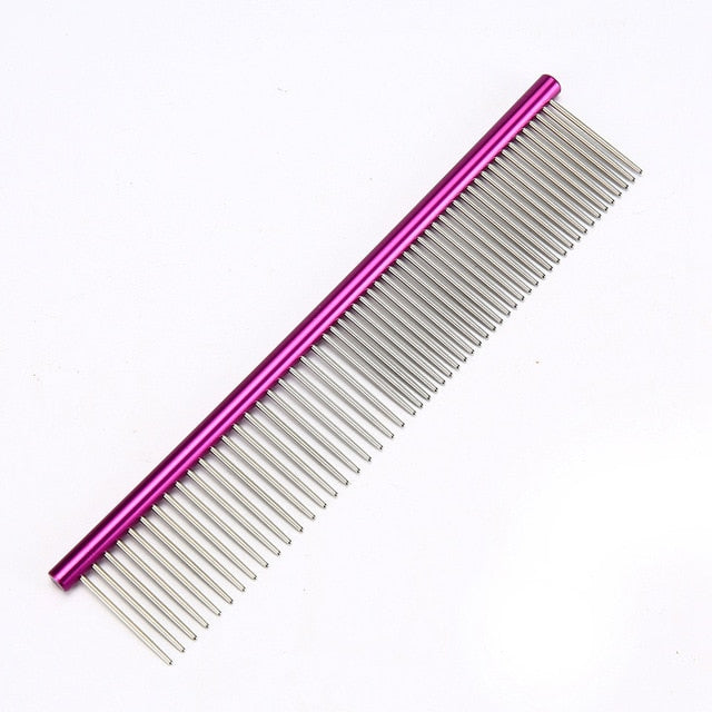 Stainless Steel Comb for Easy Cleaning & Grooming Purple / M 19x3.5cm | CatToyz.com | Shop Cat Toys, Clothes, and Grooming Supplies