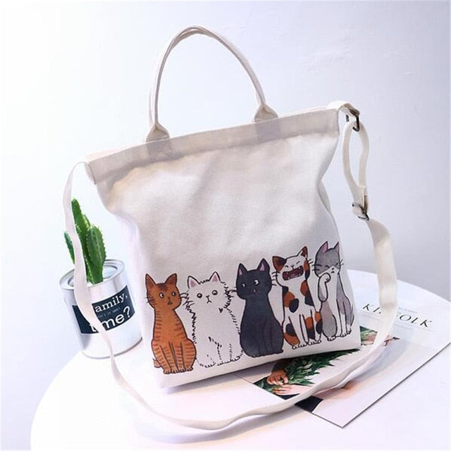 """All The Usual Suspects"" Cartoon Cat Beach / Shopping Canvas Tote  