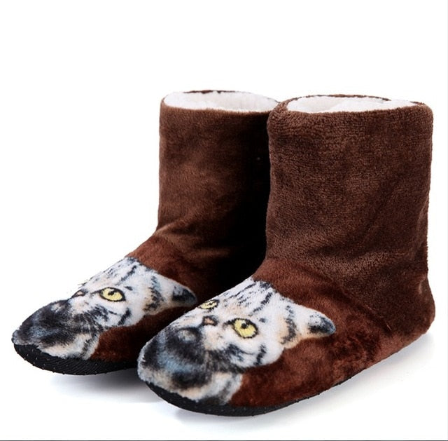 3D Cat Print Boot Style Slippers Brown / 39 | CatToyz.com | Shop Cat Toys, Clothes, and Grooming Supplies