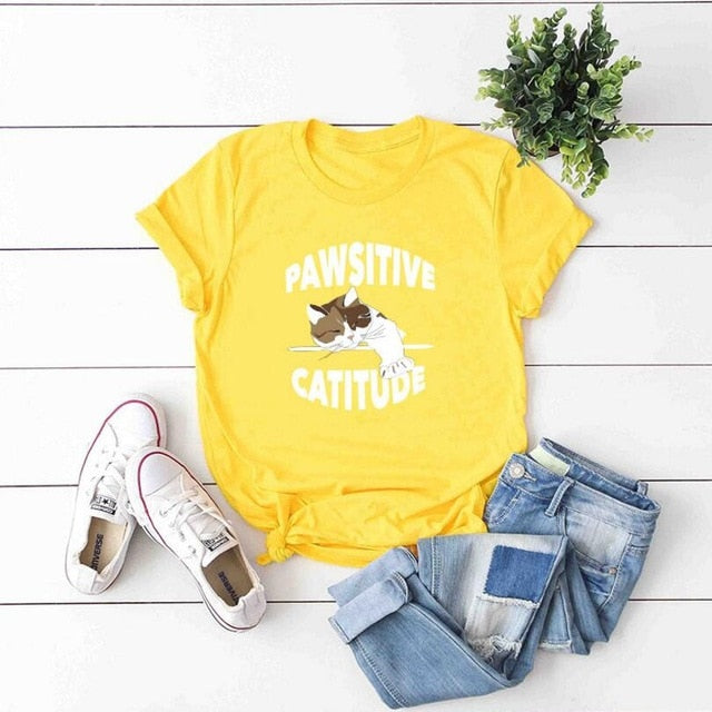 Pawsitive Catitude T-Shirt Yellow / S | CatToyz.com | Shop Cat Toys, Clothes, and Grooming Supplies