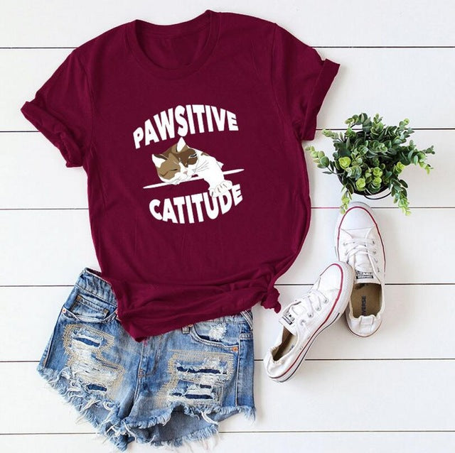Pawsitive Catitude T-Shirt Burgundy / S | CatToyz.com | Shop Cat Toys, Clothes, and Grooming Supplies