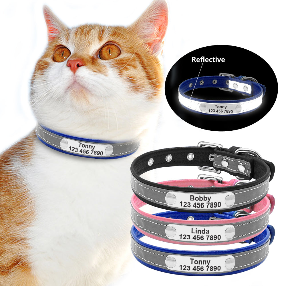 Personalized Reflective Engraved Leather Cat Collar  | CatToyz.com | Shop Cat Toys, Clothes, and Grooming Supplies