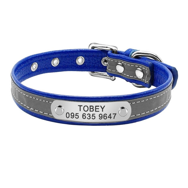Personalized Reflective Engraved Leather Cat Collar Blue / M | CatToyz.com | Shop Cat Toys, Clothes, and Grooming Supplies