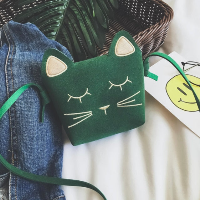 Cute Cat Shoulder Purse For Kids In Several Colors Green | CatToyz.com | Shop Cat Toys, Clothes, and Grooming Supplies