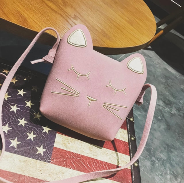 Cute Cat Shoulder Purse For Kids In Several Colors Pink | CatToyz.com | Shop Cat Toys, Clothes, and Grooming Supplies