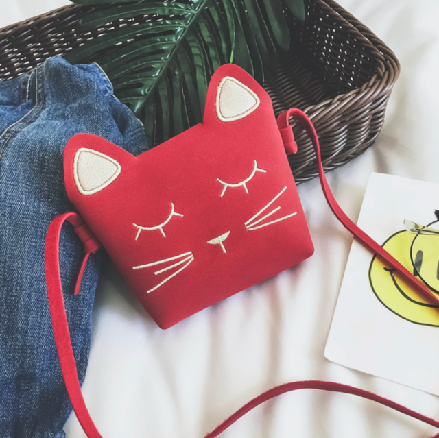 Cute Cat Shoulder Purse For Kids In Several Colors Red | CatToyz.com | Shop Cat Toys, Clothes, and Grooming Supplies