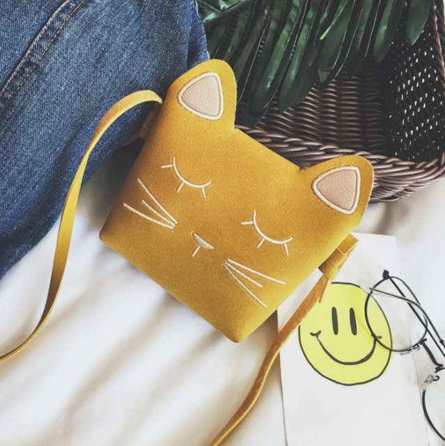 Cute Cat Shoulder Purse For Kids In Several Colors Yellow | CatToyz.com | Shop Cat Toys, Clothes, and Grooming Supplies