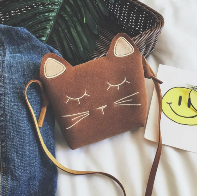 Cute Cat Shoulder Purse For Kids In Several Colors Brown | CatToyz.com | Shop Cat Toys, Clothes, and Grooming Supplies