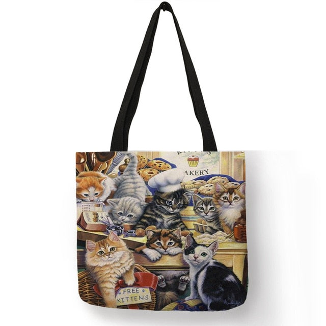 Festive Cat Print Shopping Totes! 002 | CatToyz.com | Shop Cat Toys, Clothes, and Grooming Supplies