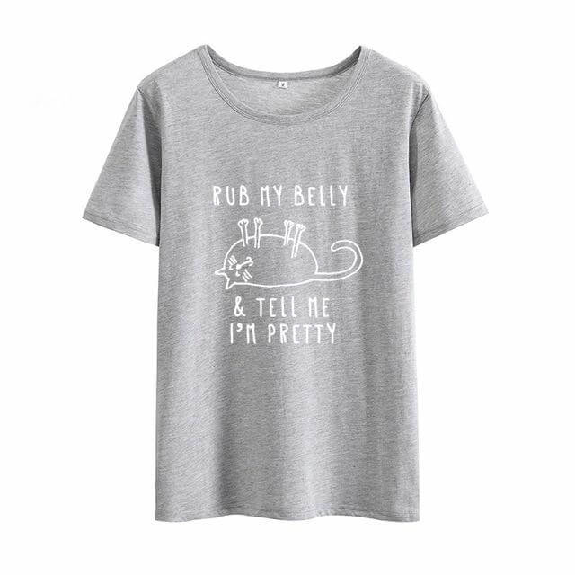 """RUB MY BELLY & TELL ME I'M PRETTY"" Cat T-Shirt! Gray-White / S 