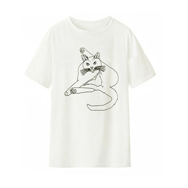 Funny Cat Cleaning Itself T-shirt White / XXL | CatToyz.com | Shop Cat Toys, Clothes, and Grooming Supplies