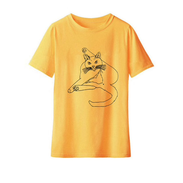 Funny Cat Cleaning Itself T-shirt Gold / L | CatToyz.com | Shop Cat Toys, Clothes, and Grooming Supplies