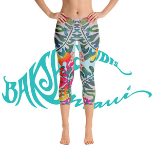 BYM  Yoga Capri Leggings in Hibiscus Bouquet