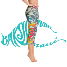 Load image into Gallery viewer, BYM  Yoga Capri Leggings in Hibiscus Bouquet