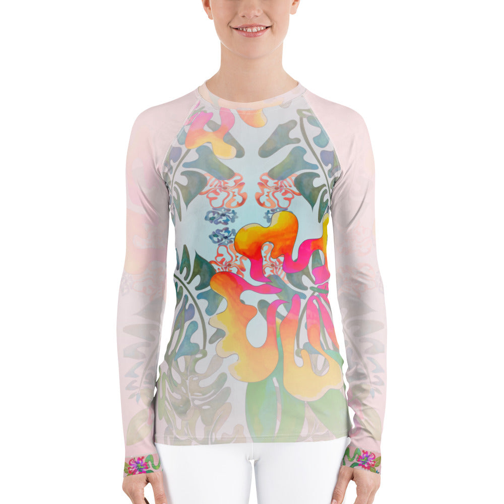 BYM Rash Guard in Hibiscus Bouquet