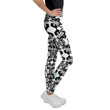 Load image into Gallery viewer, BYM Black and White Fleurs Youth Leggings