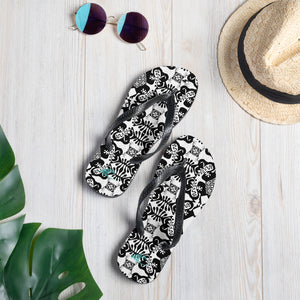 BYM Black and White Fleurs Slippah / Flip-Flops