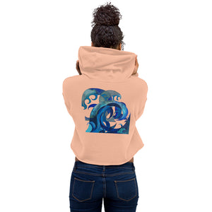 BYM Crop Hoodie in Big Wave