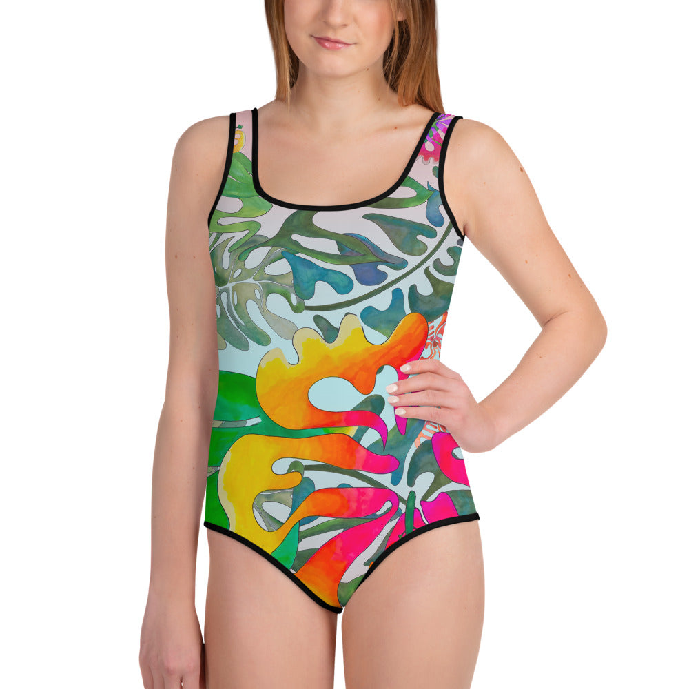BYM Beach Teen One Piece Bathingsuit in Hibiscus Bouquet