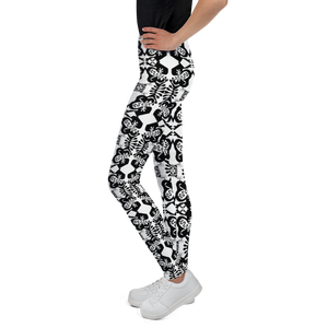 BYM Black and White Fleurs Youth Leggings