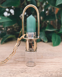 Brass Classic - Green Aventurine Rollerball Necklace
