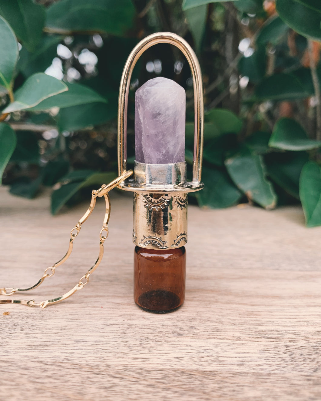 Brass Classic -  Amethyst Rollerball Necklace