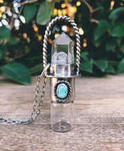 Load image into Gallery viewer, Sterling Silver Classic - Clear Quartz + Sleeping Beauty Turquoise Rollerball Necklace