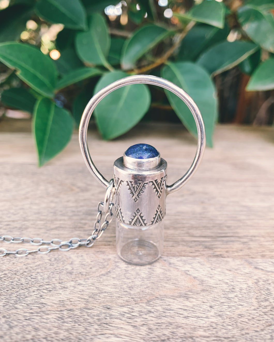 Sterling Silver Horizon -  Lapis Lazuli Rollerball Necklace