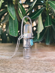 Sterling Silver Classic - Clear Quartz + Sleeping Beauty Turquoise Rollerball Necklace