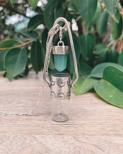 Sterling Silver Charm - Green Aventurine Rollerball Necklace