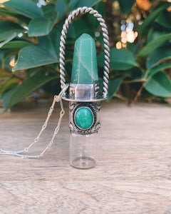 Sterling Silver Classic - Green Aventurine and Chrysoprase Rollerball Necklace
