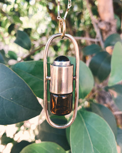 Brass Lucid - Black Onyx Rollerball Necklace(small cab)